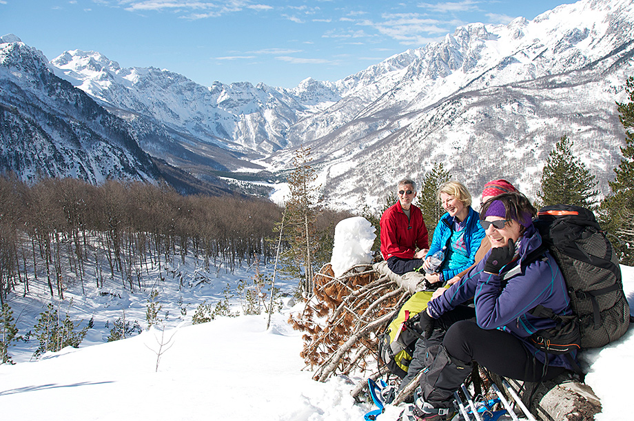 Snowshoeing in the Albanian Alps