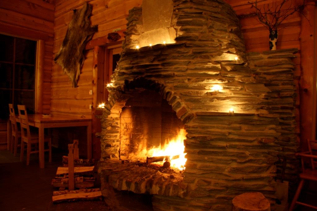 The fireplace at Basecamp Oulanka, Finland