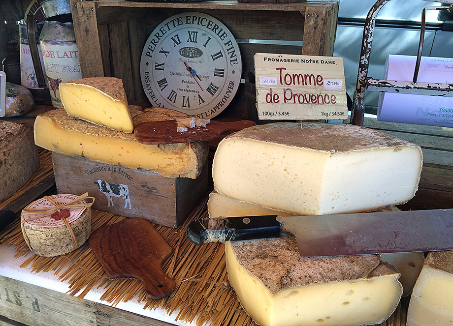 Cheese stall, food market, rural Provence