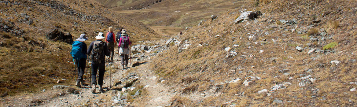 Exodus group walking the High Inca Trail, Peru