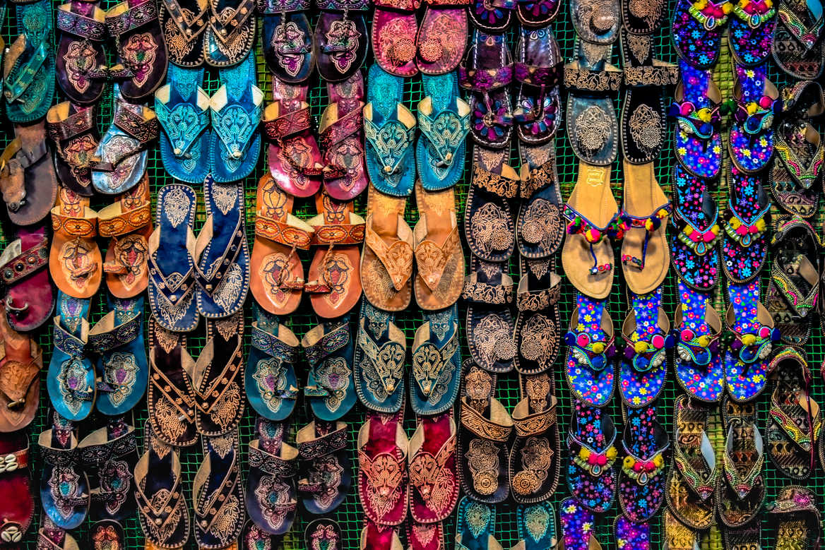 Colourful Sandals in Indian Market