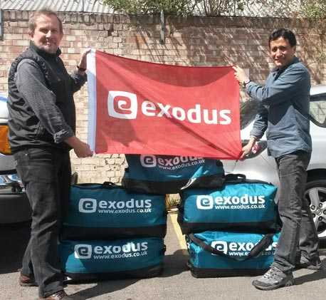 Exodus MD Pete and Customer Operations Exec Niraj preparing to send emergency aid to Nepal