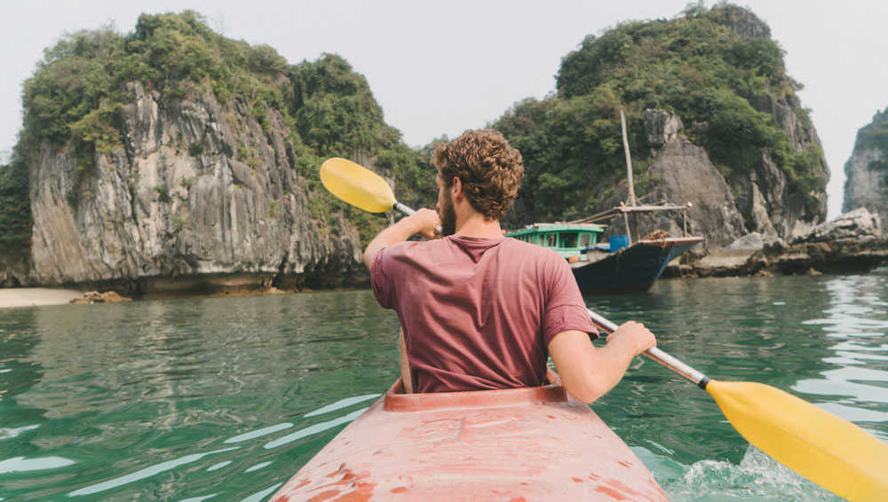 Kayaking in Halong Bay