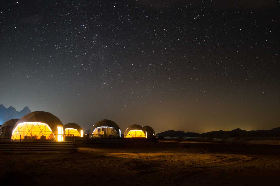 Jordan UFO pods at night time