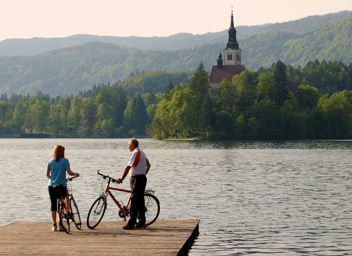 Cycling in Lake Bled