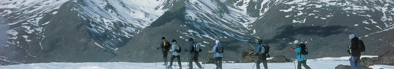 Snowshoeing in Sierra Nevada, Mulhacen behind