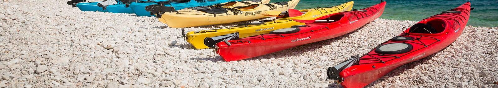KAS, TURKEY Kayaks on beach, Turkey