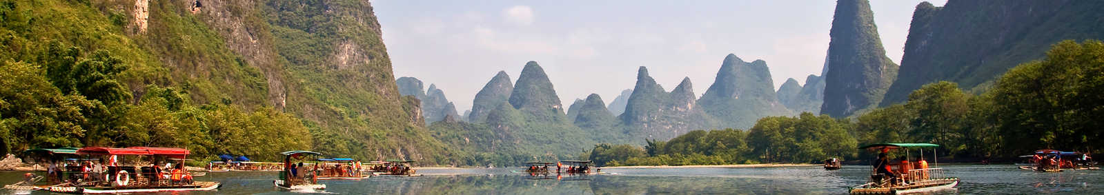 Bamboo rafts on the Li River between Guilin and Yangshuo, Asia