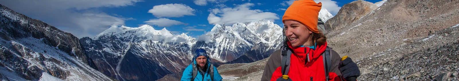 Hikers on the trek in Himalayas, Manaslu region, Nepal