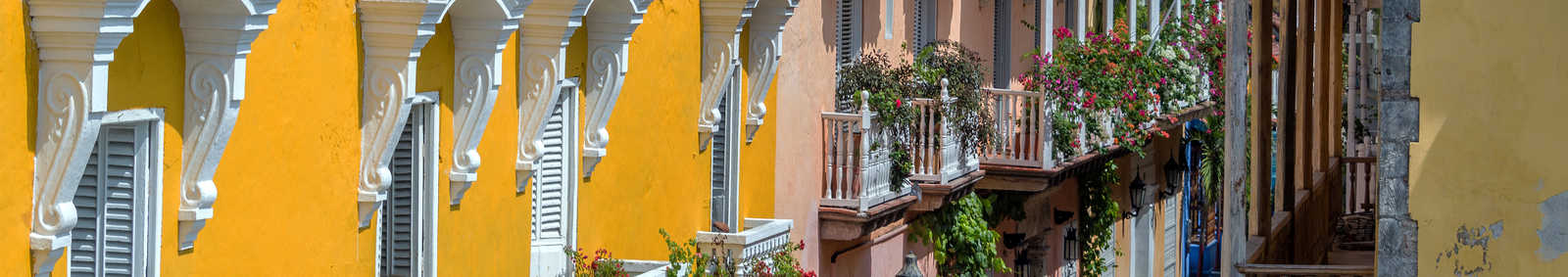 Colonial buildings and balconies in the historic center of Cartagena, Colombia