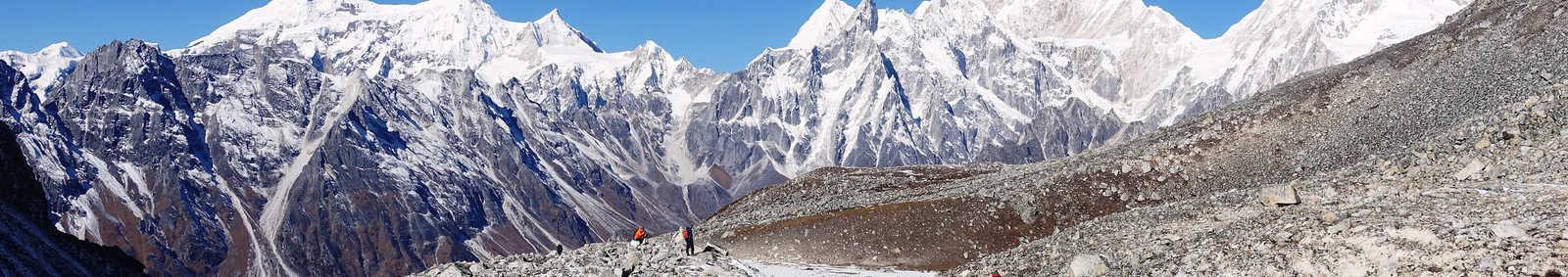 Descending from Larkye La, Nepal