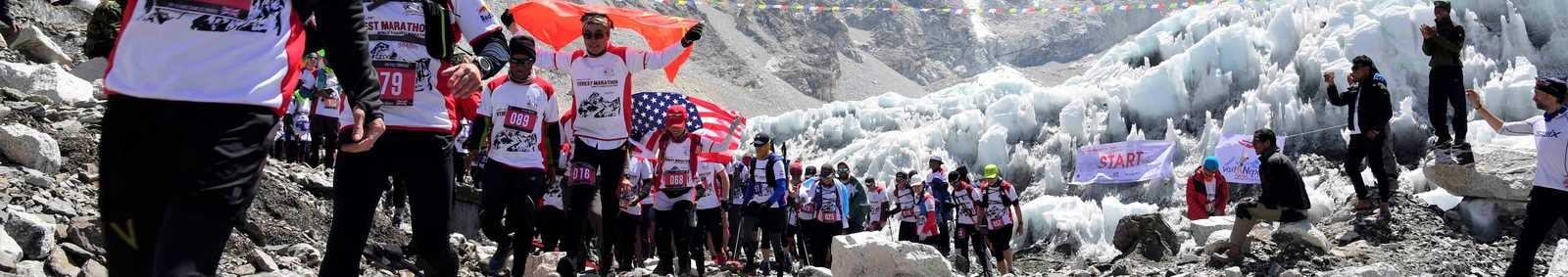 Start line, Tenzing-Hillary Everest Marathon, Nepal
