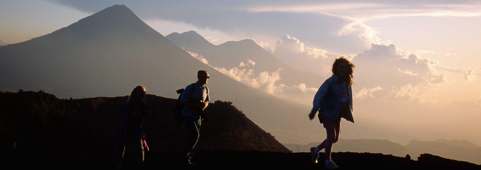 Trekkers on Agua Volcano above Antigua Guatemala