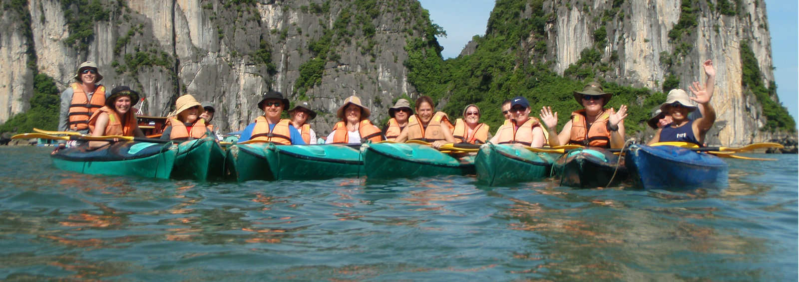 Kayaking group in Halong Bay