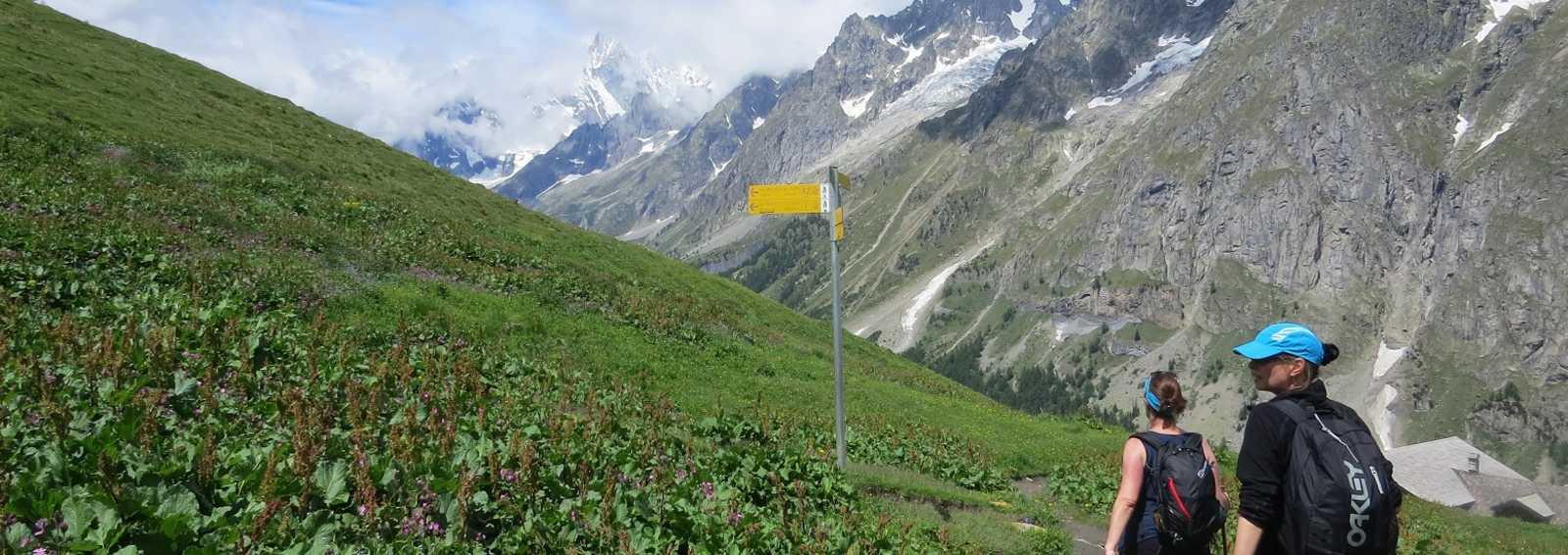 Signposts on the Tour de Mont Blanc, France