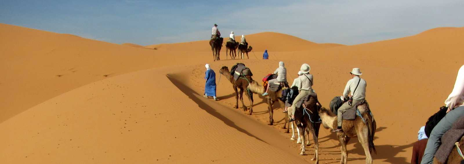 Camel ride in the Sahara Desert, Morocco