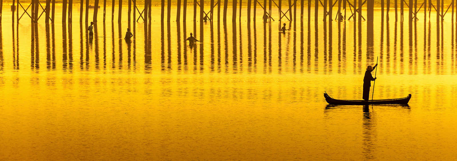 Sunset in U Bein bridge, Myanmar (Burma)