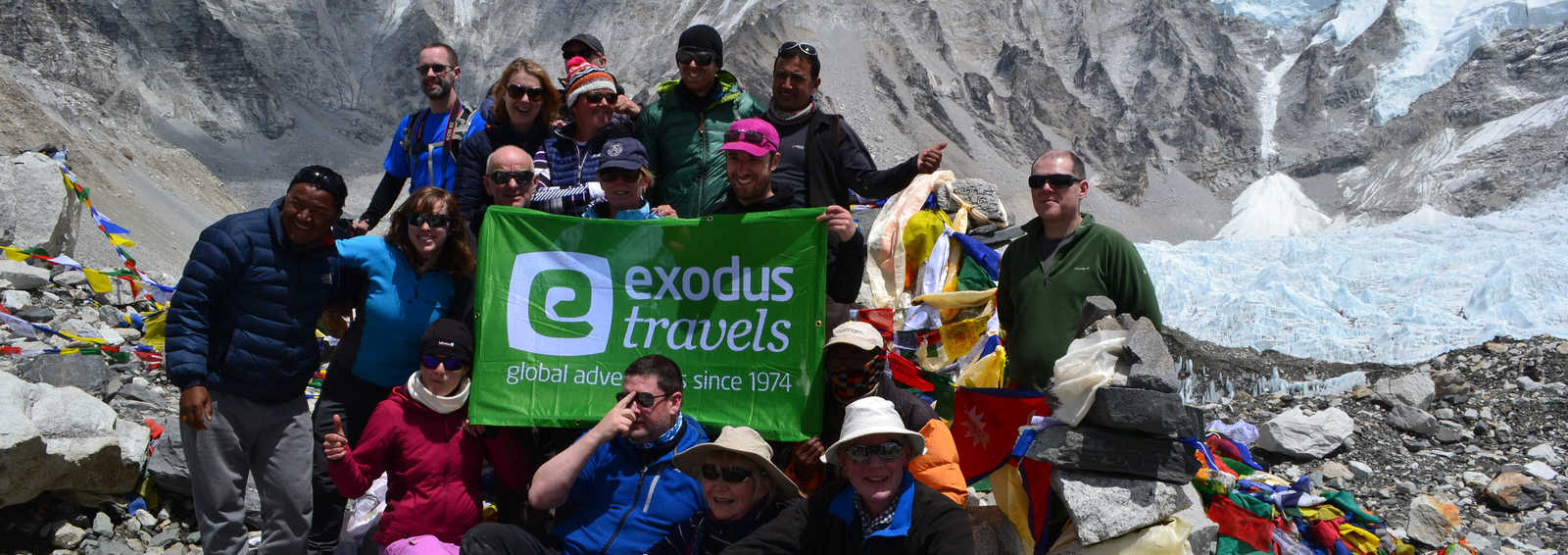 Exodus group at the Everest Base Camp