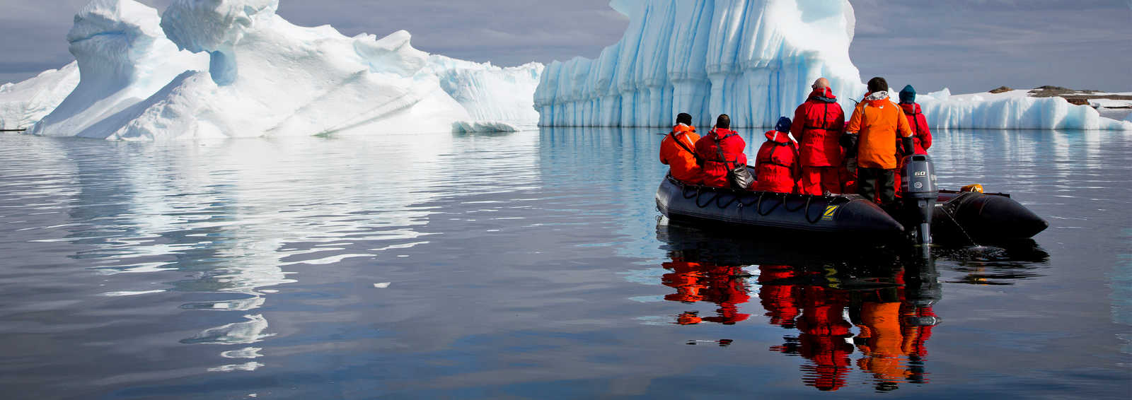 Looking at the icebergs from the zodiac