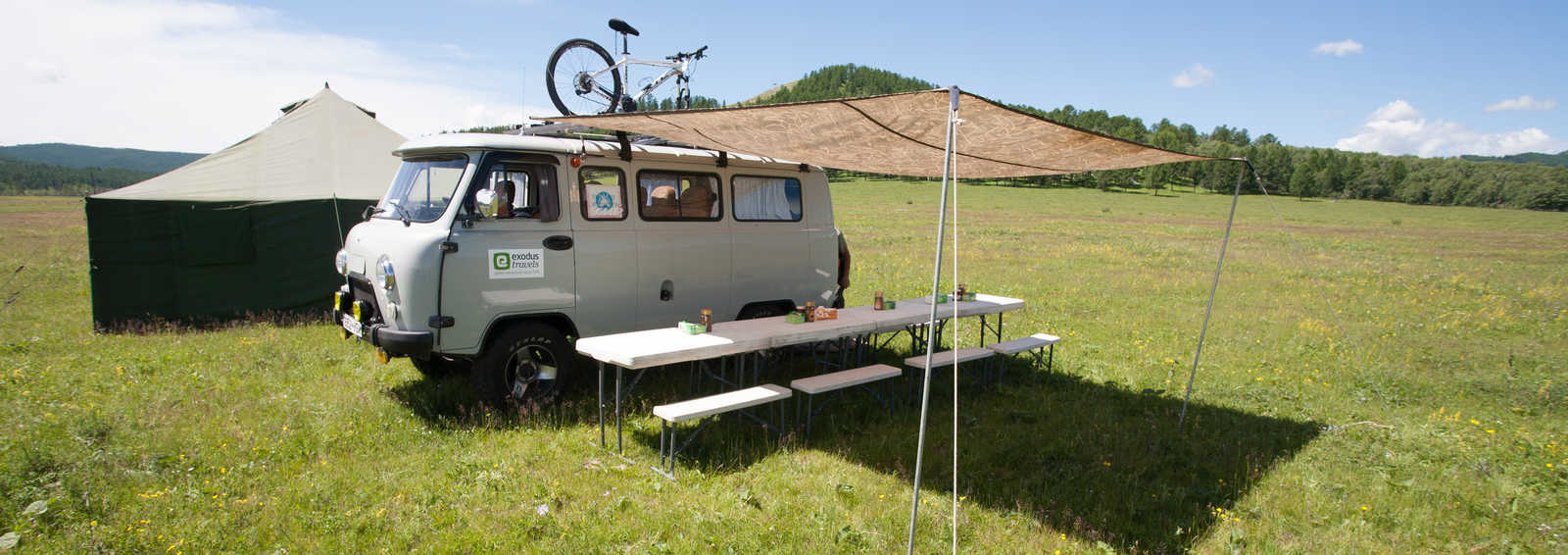 Cycling snack break in Mongolia