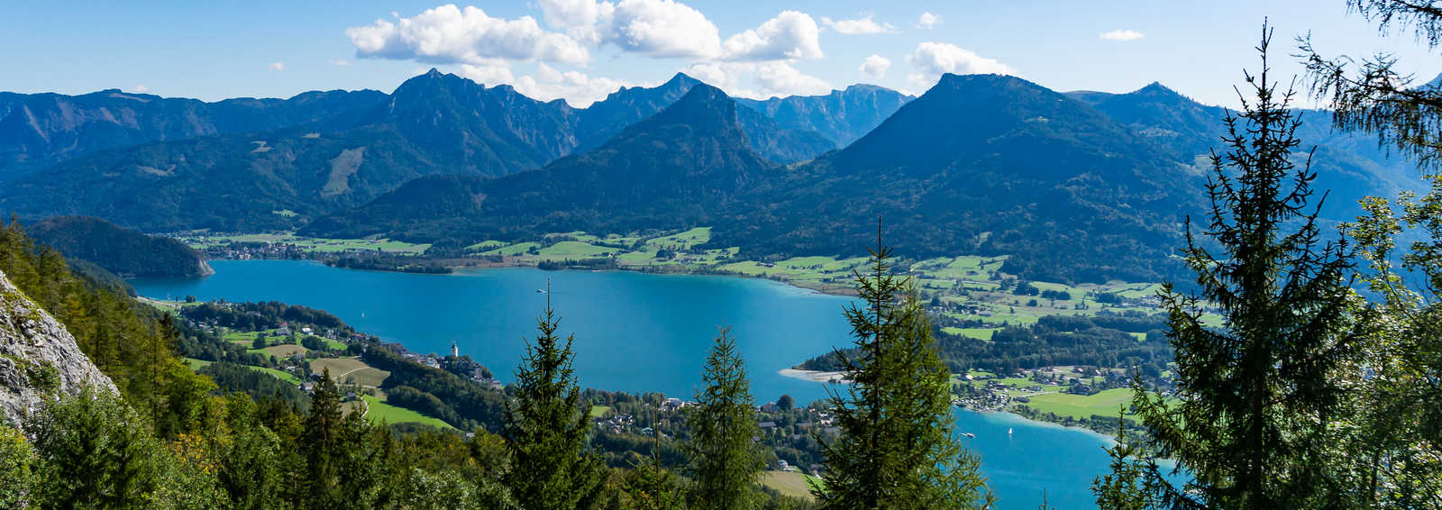 Aerial view of Wolfgangsee lake from Schafberg, Salzkammergut, Austria