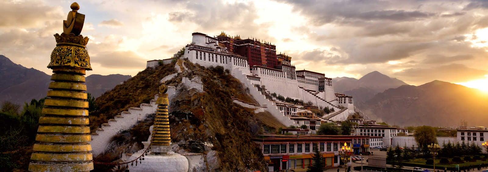 Potala palace at sunrise in Lhasa, Tibet