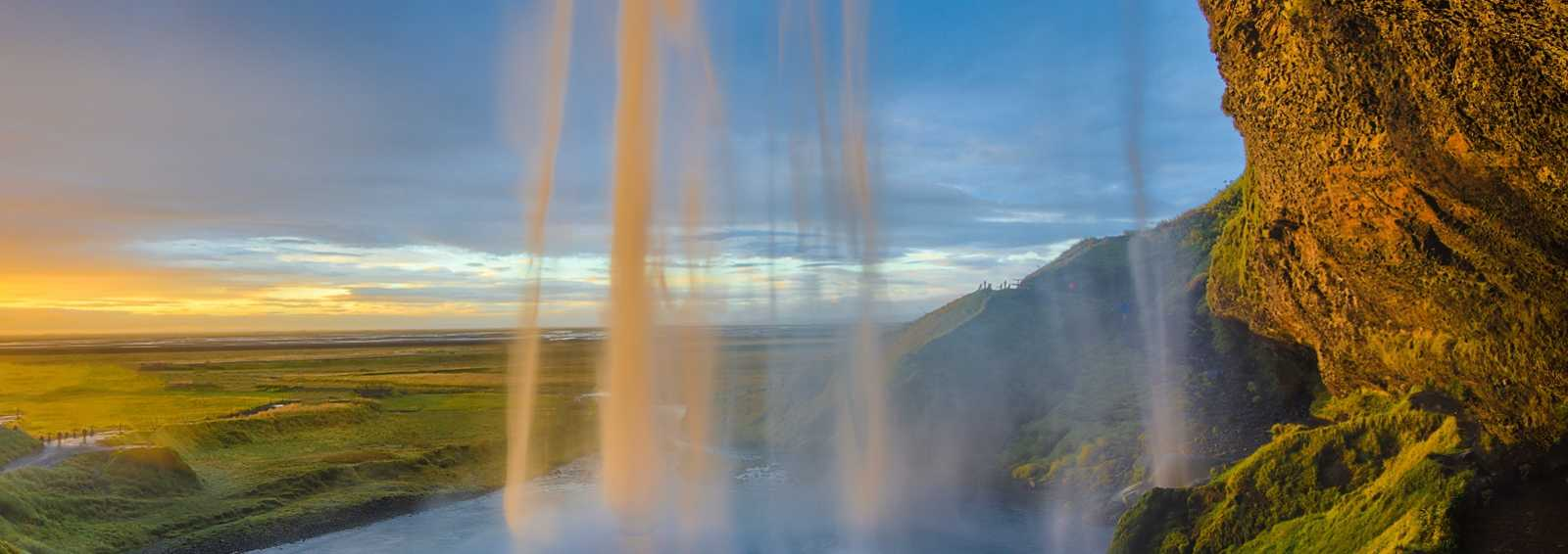 Iceland waterfall at sunset