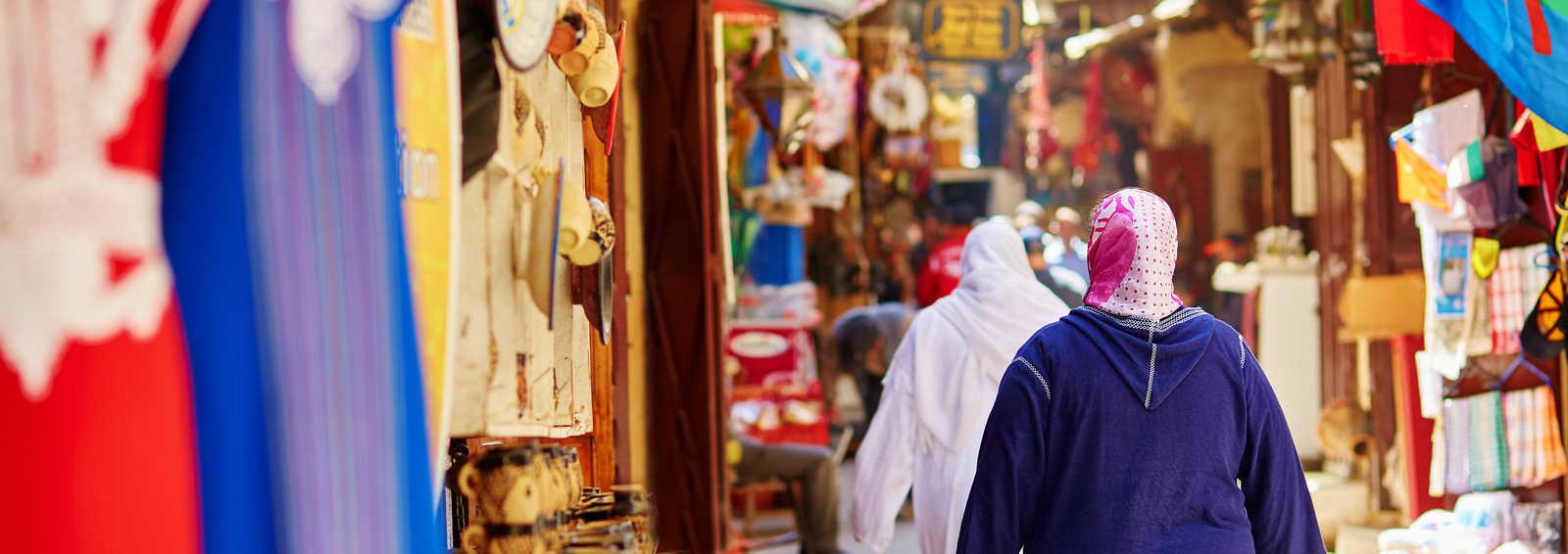 Women shopping in the Souk, Fez, Morocco