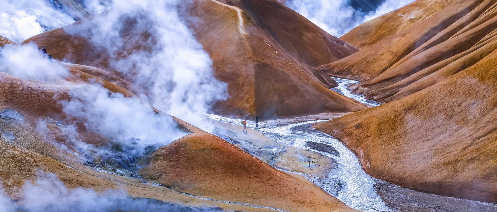 Geothermal smoking field with people, Kerlingafjoll