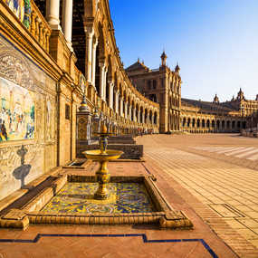 Plaza de Espana in Sevilla at sunset