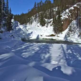 frozen Jyrävä waterfall