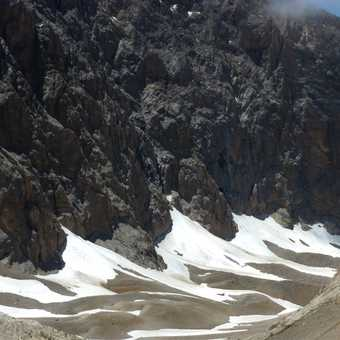 Patches of snow on the high passes