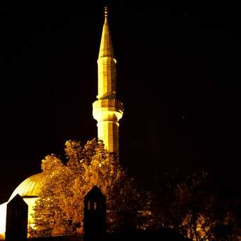 Mosque at night in Mostar