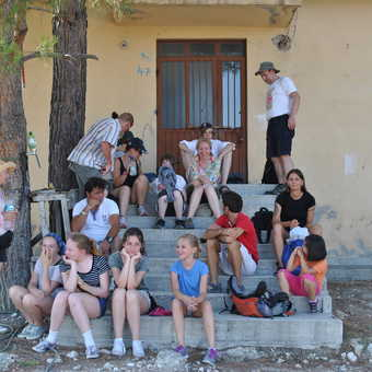 In the mountain village we played football and games with the children.