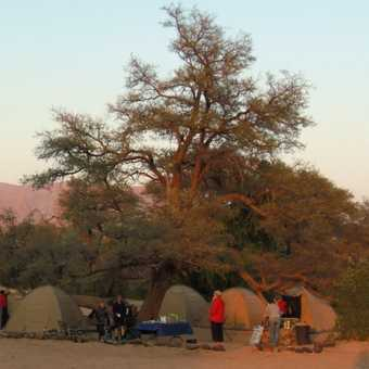 Camp in morning light at Brandberg