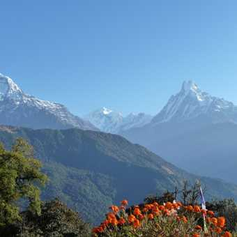 Hiunchuli and Machapuchare from Tatopani