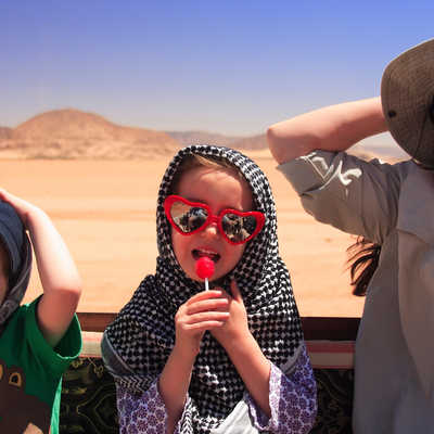 Family out and about in Jordan