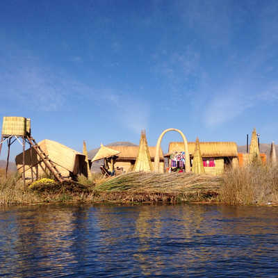 Floating reed islands, Lake Titicaca, Peru