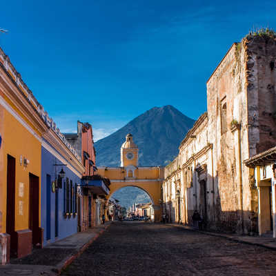 St Catarina arch and volcano Antigua, Guatemala