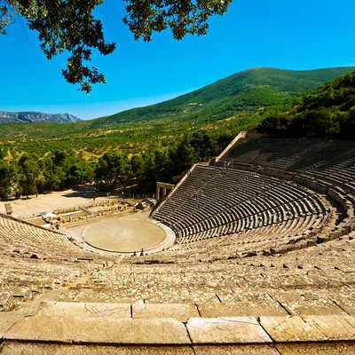 Greece. Ancient Theatre in Epidaurus (also Epidauros, Epidavros) built in 340 BC.