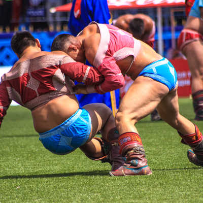 Wrestling during the Naadam Festival
