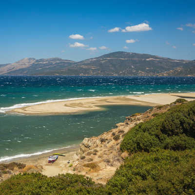 Beautiful golden sand beach, Evia, Greece