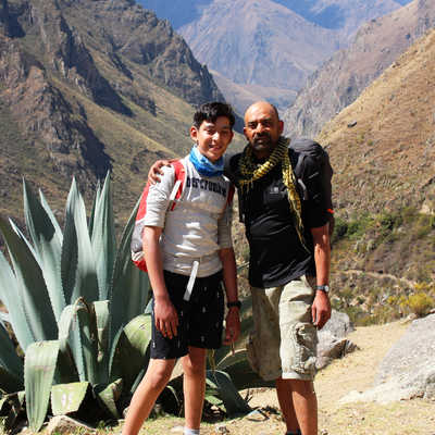 Father and son on the Inca Trail, Peru