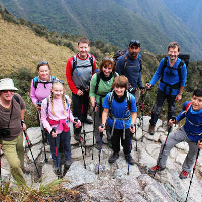 Family group trekking the Inca Trail, Peru