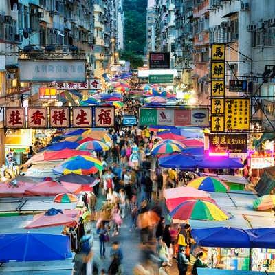 Busy street market at Fa Yuen Street, Mong Kok, Hong Kong