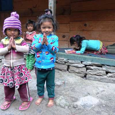 Village children en route to Dharamsala, Manaslu Circuit, Nepal