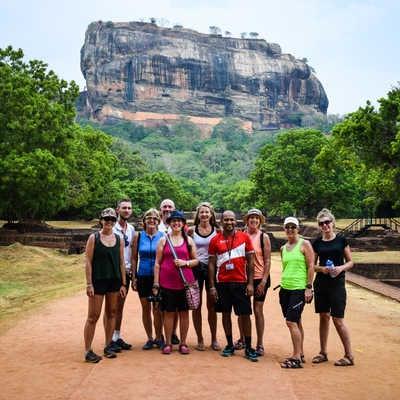 Exodus cycling group at Sigiriya Rock Fortress (Lion Rock), Sri Lanka