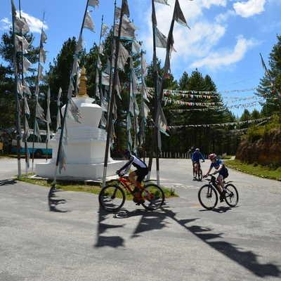 Cycling round a Stupa