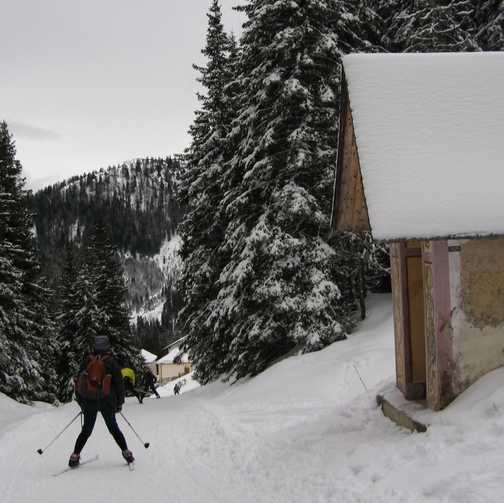 Day 4 Mariawaldrast End of day ski down to Maria Kloster