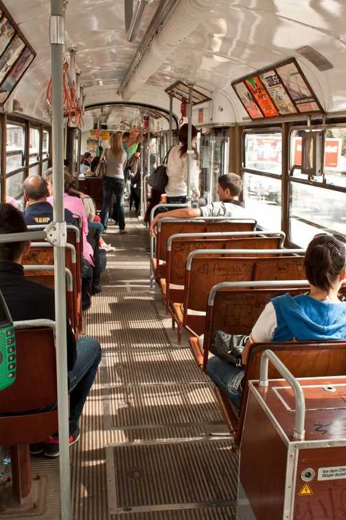 The inside of a tram in Sarajevo